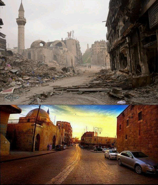 Aleppo before and after.  Souq khan al wazeer.