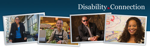 (From left to right) A photo of a woman with spina bifida; a young man with Costello Syndrome; a man who was blind; & a woman with a hidden disability