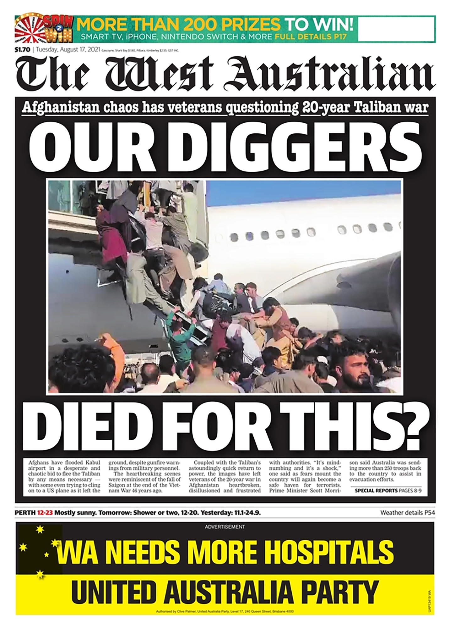 The West Australian front page
