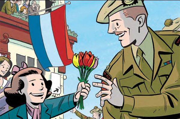 Illustration of a soldier accepting tulips from a child.
