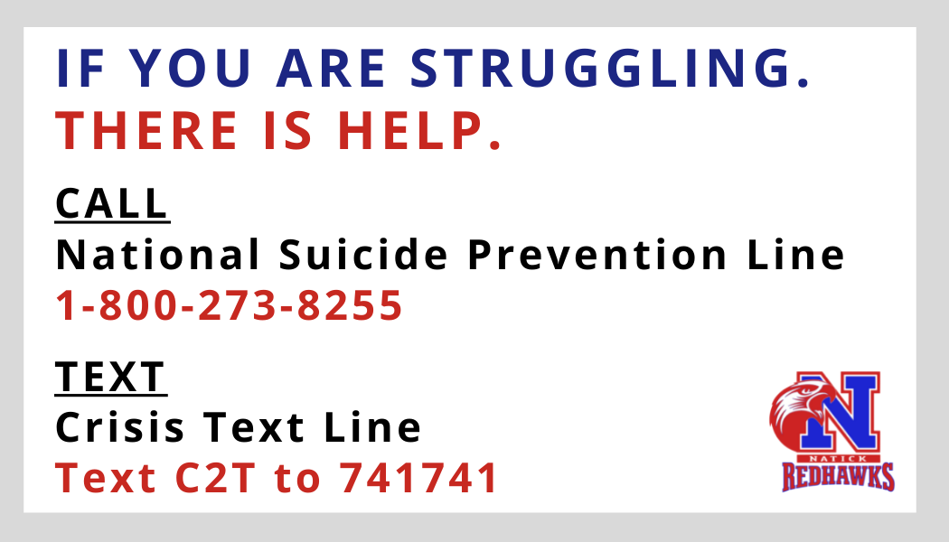 Image text: IF YOU ARE STRUGGLING.                                         THERE IS HELP.                                         CALL                                         National Suicide Prevention Line 1-800-273-8255                                         TEXT                                         Crisis Text Line Text C2T to 741741