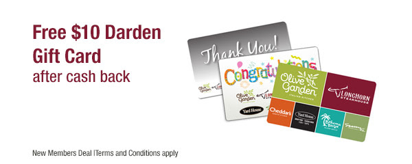 FREE $10 Darden Gift Card...