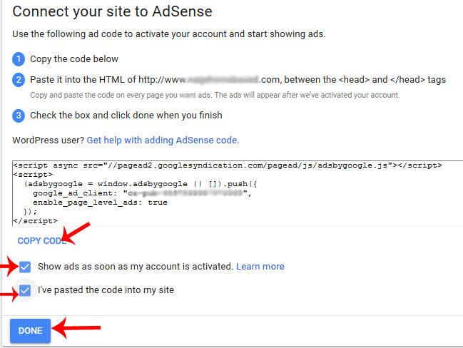 connect your site to adsense using adsense verification code