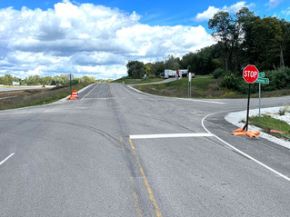 Three-way stop for New Harmony and Ennis roads