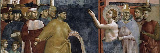 Legend of St Francis: 5. Renunciation of Worldly Goods (detail fresco), 1297-99, Giotto di Bondone, Upper Church, San Francesco, Assisi