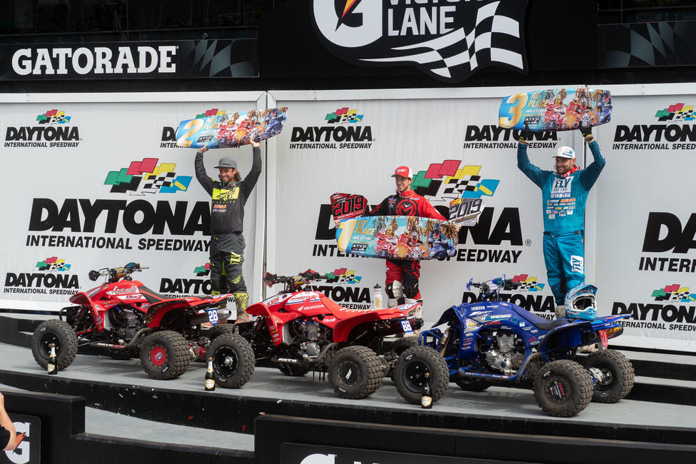 Joel Hetrick (center), Jeffrey Rastrelli (left) and Chad Wienen (right) rounded out the 2019 Daytona ATV Supercross top three.