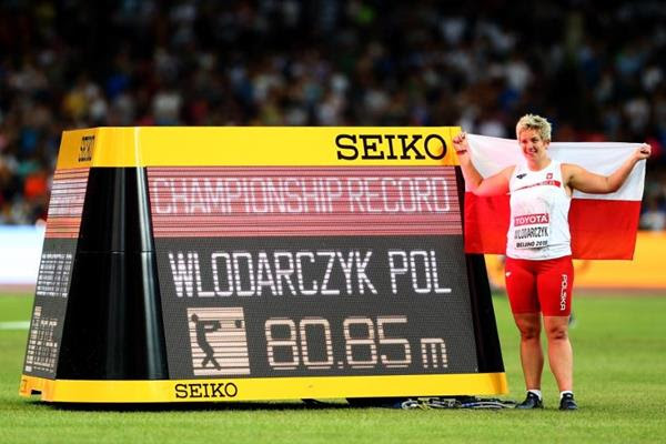 Anita Wlodarczyk with her hammer-winning figures at the IAAF World Championships, Beijing 2015 (Getty Images)