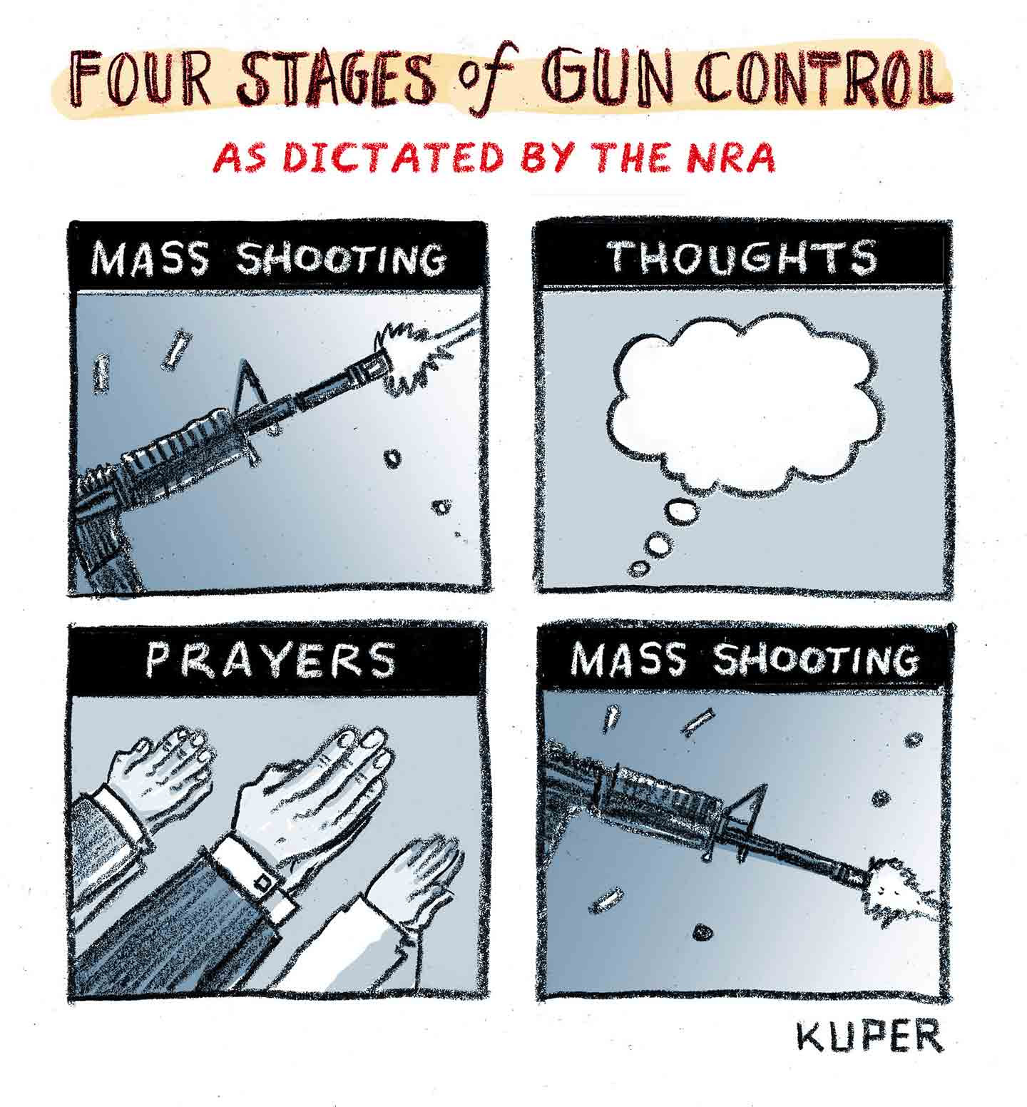Peter Kuper cartoon - Four Stages of Gun Control as Dicatated by the NRA - 1 Mass Shooting 2 Thoughts 3 Prayers 4 Mass Shooting