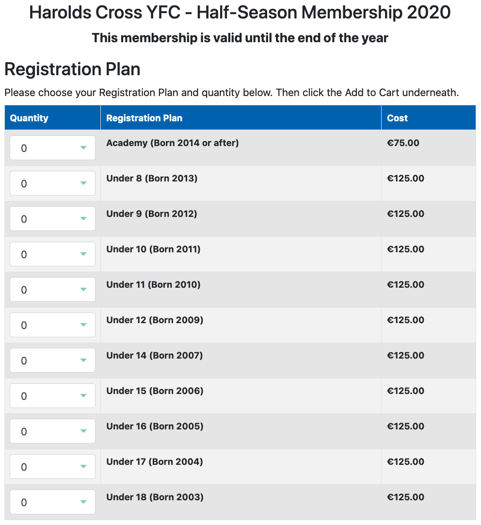 Clubforce Registration Plan showing teams and cost