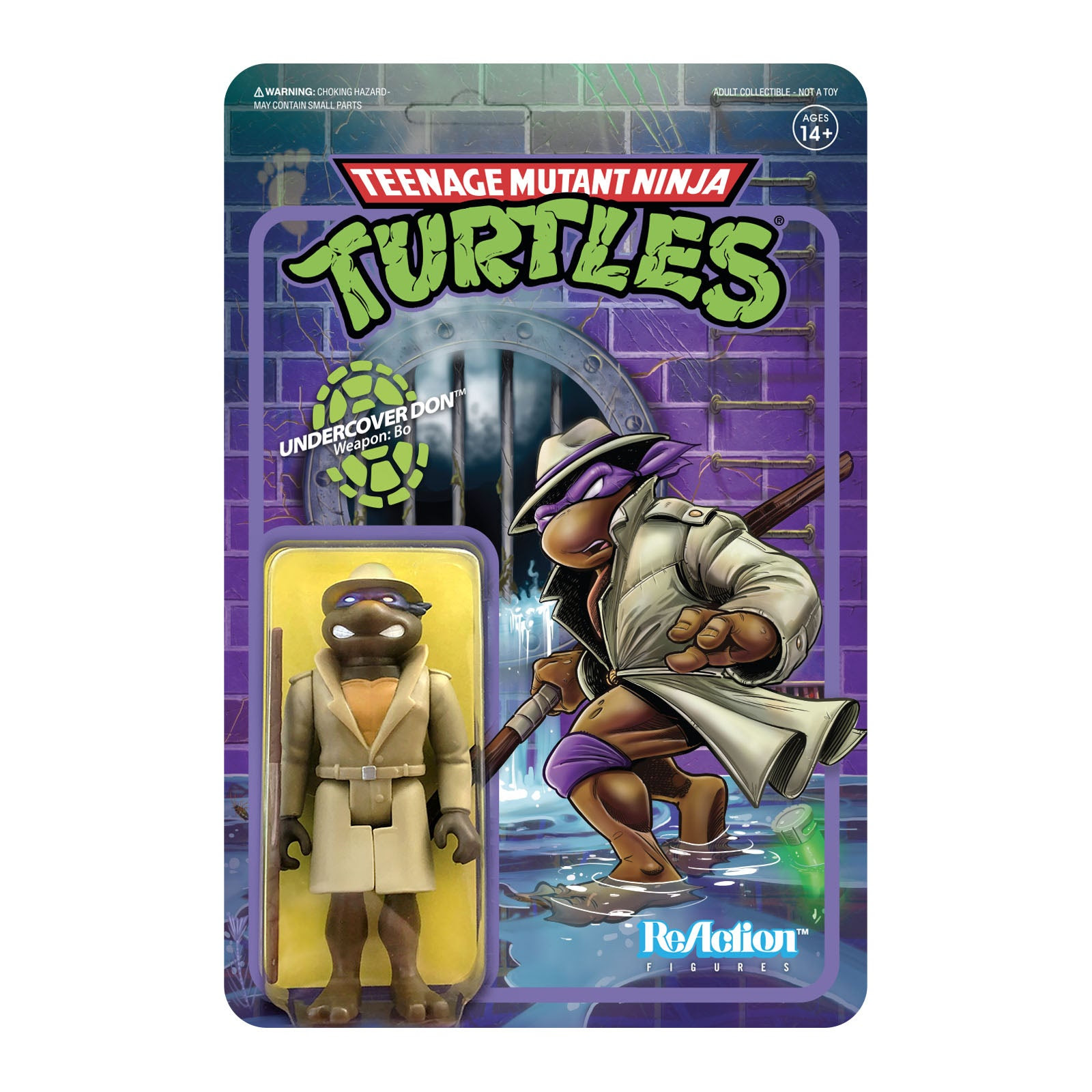 """Image of TMNT Reaction 3.75"""" Figures - Undercover Donatello - JULY 2020"""