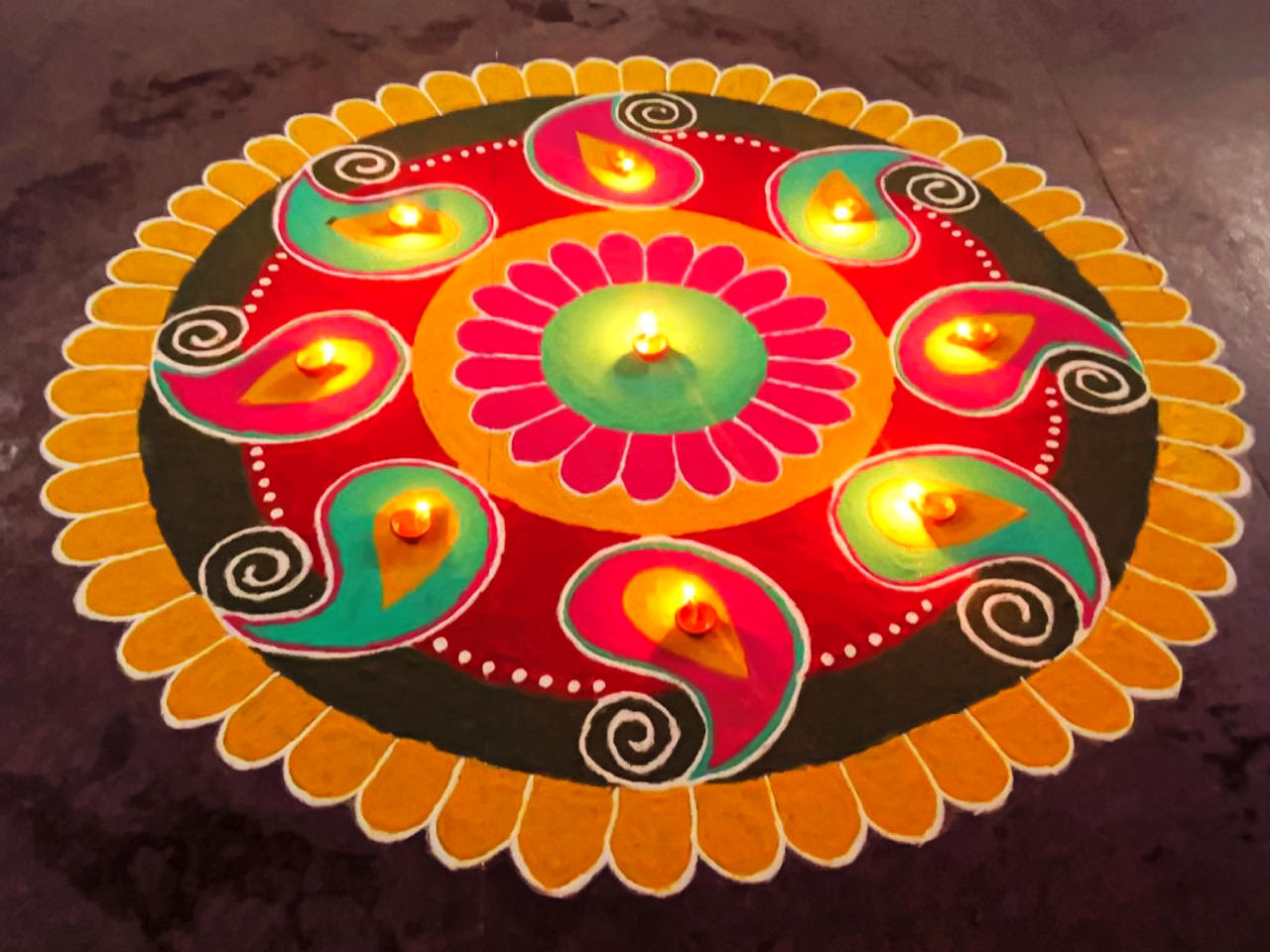 Rangoli with Diya
