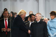 Defense Secretary James N. Mattis greeted President Trump at the reviewing stand during the inaugural parade on Friday.