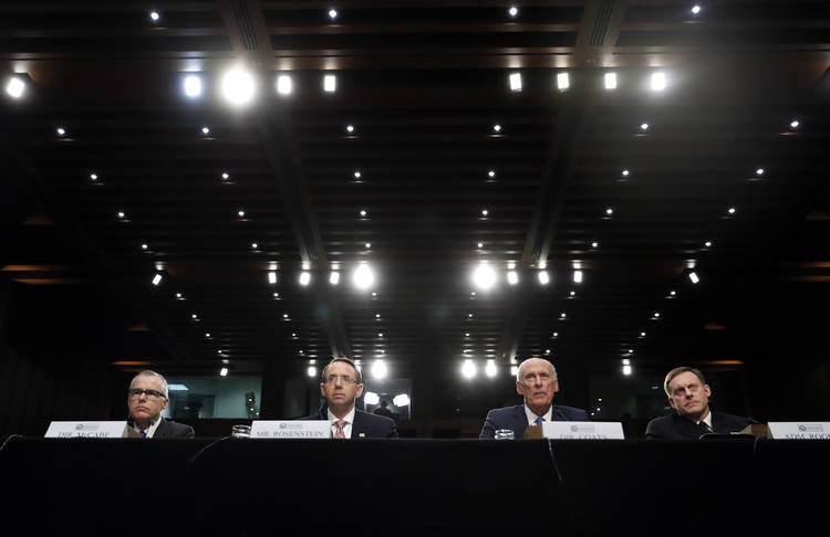 Andrew McCabe, Rod Rosenstein, Dan Coats, and Adm. Michael Rogers during a Senate Intelligence Committee hearing. (Carolyn Kaster/AP)