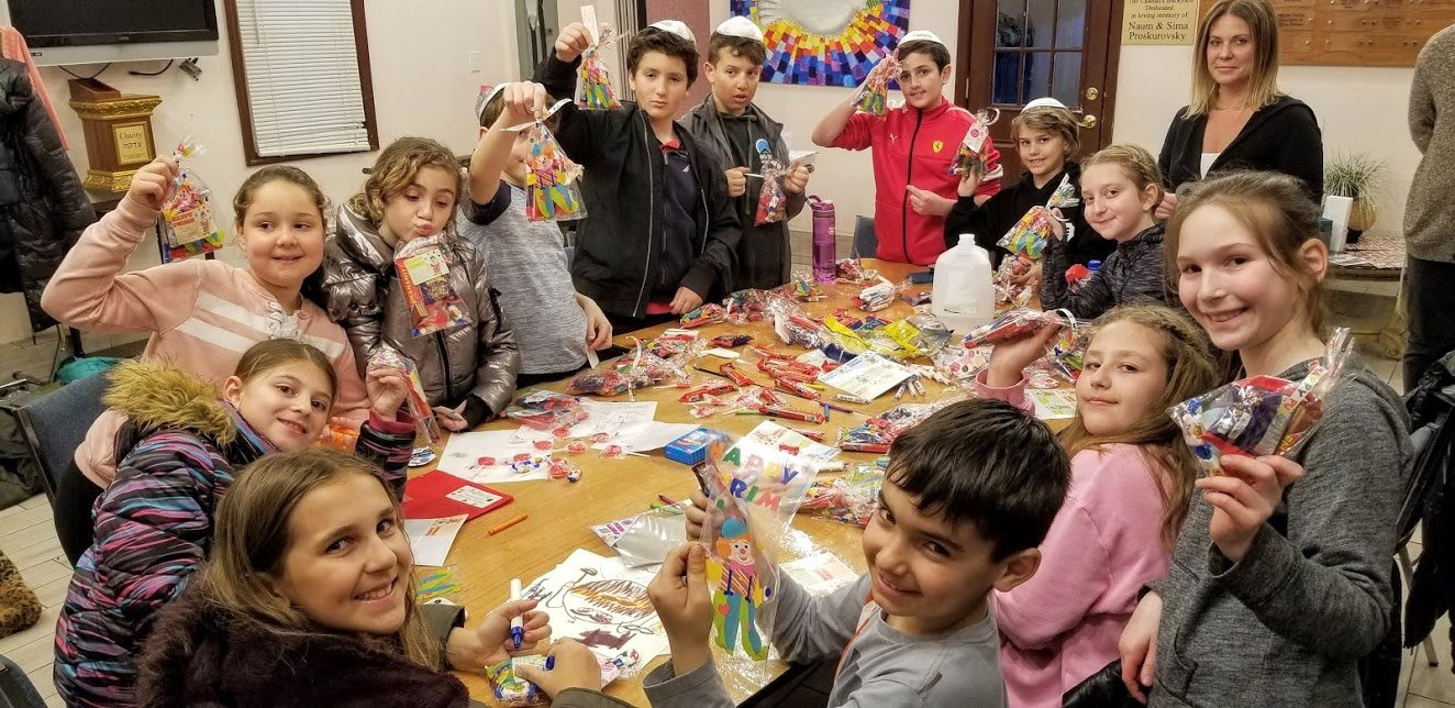 Jewish Kids Club of Hewlett, an after-school program for fourth- and fifth-graders at the Chabad of Hewlett, put together Purim packages for IDF soldiers and children at the Mishpacha Jewish Orphanage in Odessa, Ukraine.