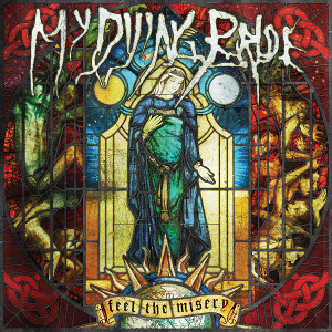 The core of the album cover features the Virgin Mary  on a stain-glass window, with the album name embroidered on tapesty in medieval writing, covering a globe of the Earth. The corners of the cover show red chain symbols.