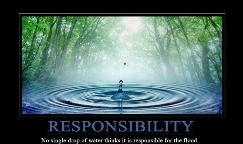 Responsibility: No single drop of water thinks it is responsible for the flood.