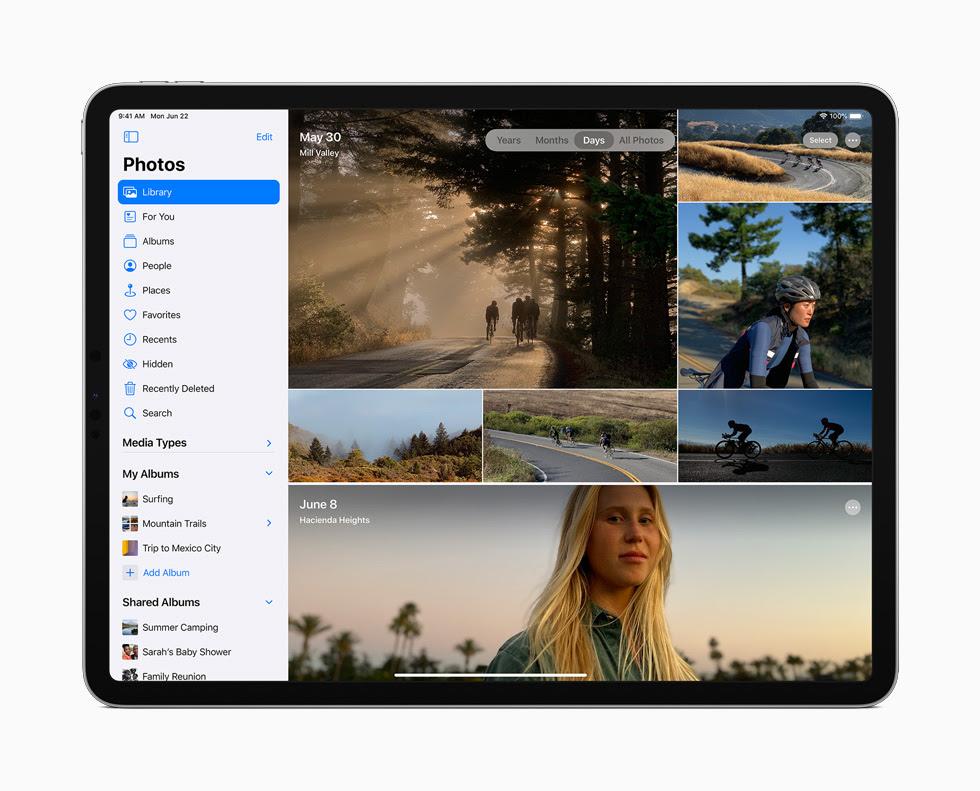 iPad Pro 顯示「照片」app 的側邊欄。