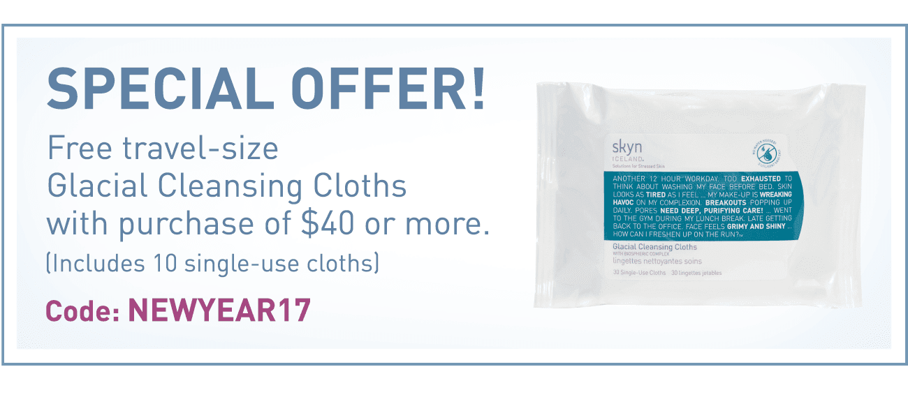 Receive a free 10-piece bonus gift with your $40 Skyn Iceland purchase