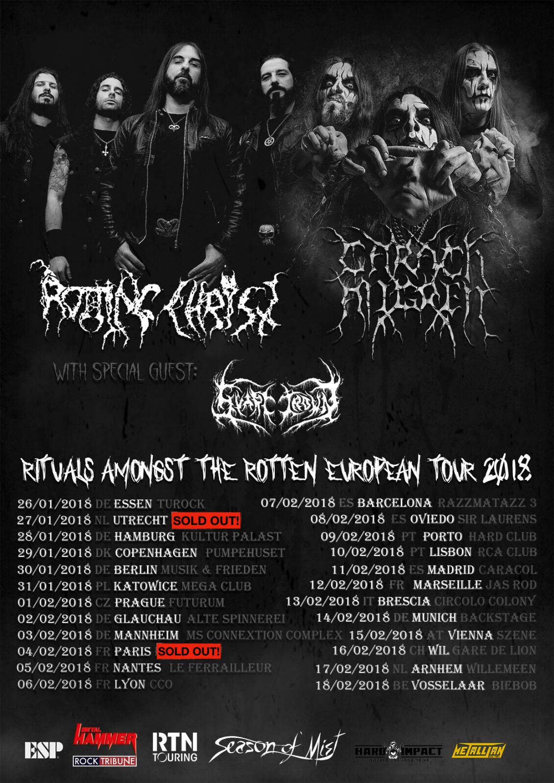 ROTTING CHRIST tour poster EU 2018