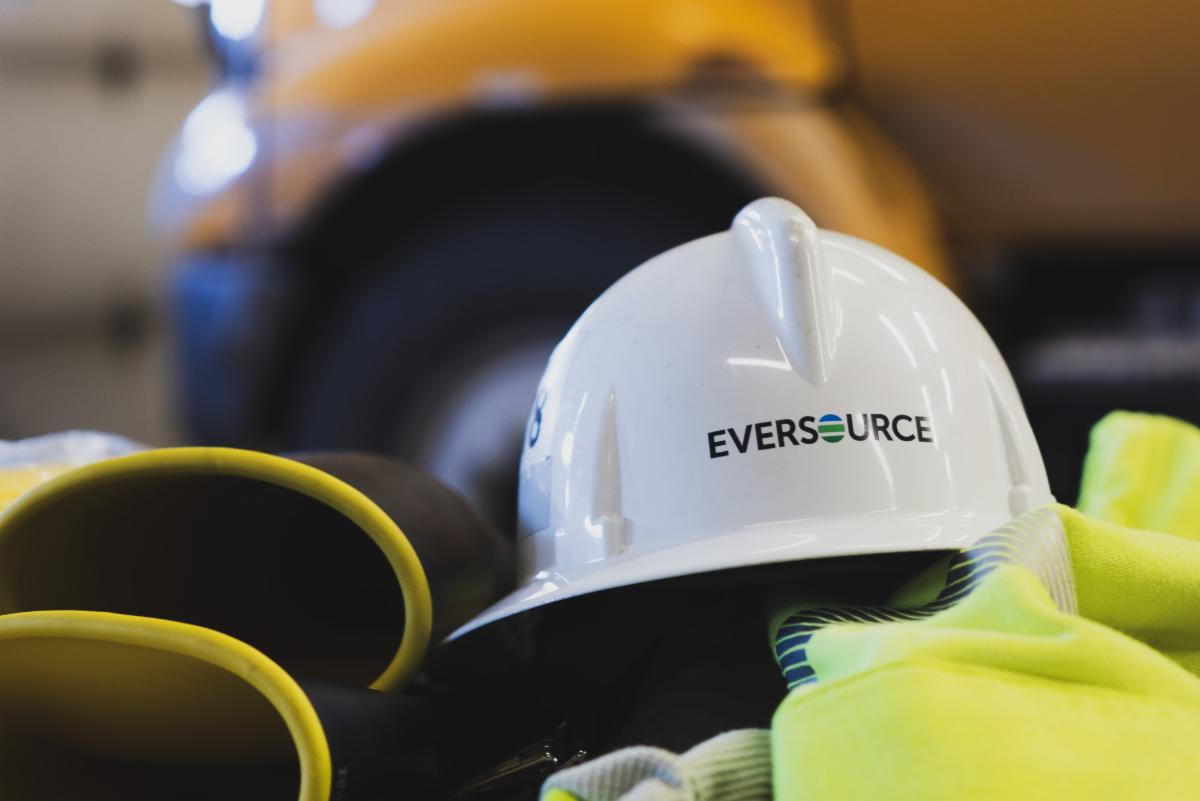 Eversource hard hat and gloves.