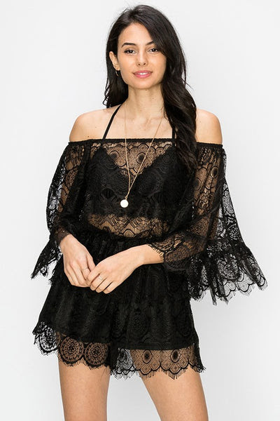 lace off the shoulder top with bell sleeves