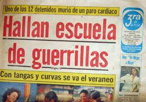 """Hace 26 años el diario La Tercera publicaba un gran titular que decía: """"HALLAN ESCUELA DE GUERRILLAS"""" y remarcaba en color amarillo """"Uno de los 12 detenidos murió de un paro cardíaco"""""""