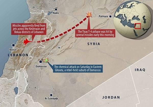 Sơ đồ vụ tấn công của chiến đấu cơ Israel vào căn cứ không quân Syria sáng 9/4