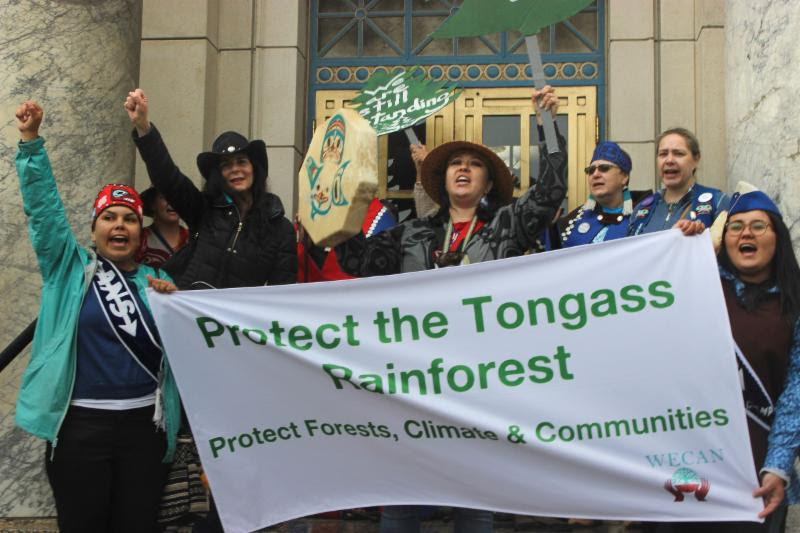 The WECAN Tongass delegation and allies cheer for the protection of the Tongass National Forest in Alaska during the _Turn Out for they Tongass_ Rall