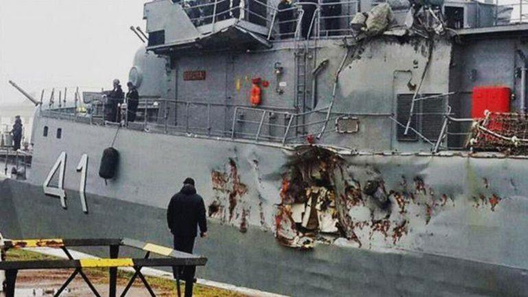 Damage to the ARA Espora (P-41). Credit: http://elrosalenio.com.ar/