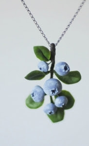 Blueberry rustic pendant - Blueberry jewelry - Botanical unique necklace - organic form blue and green necklace - Boho chic