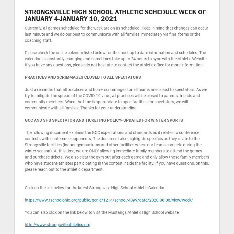STRONGSVILLE HIGH SCHOOL ATHLETIC SCHEDULE WEEK OF JANUARY 4-JANUARY 10, 2021 Currently, all...