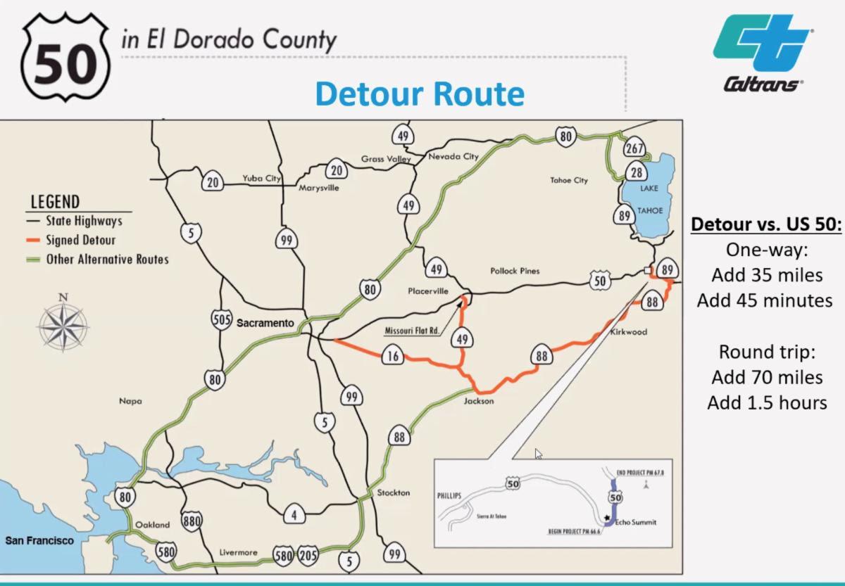 Hwy50 Detour Map