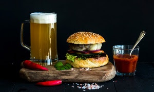 Burger with Chips and Beer