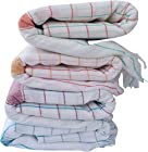 Fancyadda Handloom Cotton Bath Towels (Pack of 4, Extra Large Size, 3 feet x 6 feet, Premium Quality, Checks Pattern)