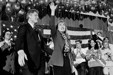 Bill and Hillary Clinton at a campaign rally in Manchester, N.H., in January 1992. An accusation of infidelity emerged the same month.