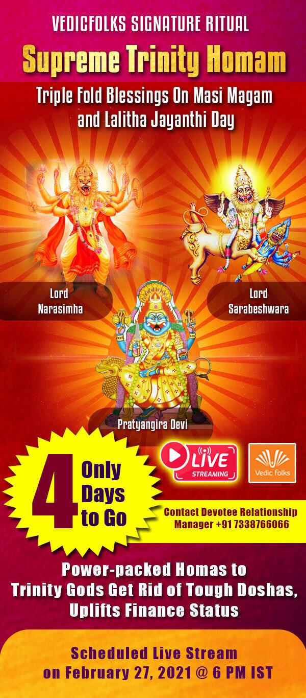Supreme Trinity Homam - Tripple Fold Blessings on Masi Magam and Lalitha Jayanthi Day