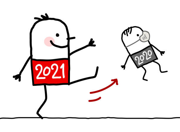 Cartoon Big 2021 Man Kicking Out a Small 2020 with Mask Hand drawn Cartoon Big 2021 Man Kicking Out a Small 2020 with Mask happy new year 2021 stock illustrations