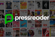 About 40 magazine or newspaper covers displayed in grid view, with the pressreader logo over the top.