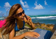 Girl on cell phone during spring break