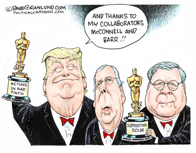 TRUMP, COVER UP, ACQUITTAL, MITCH MCCONNELL, BARRAG, IMPEACHED, BAD FAITH, COLLABORATORS