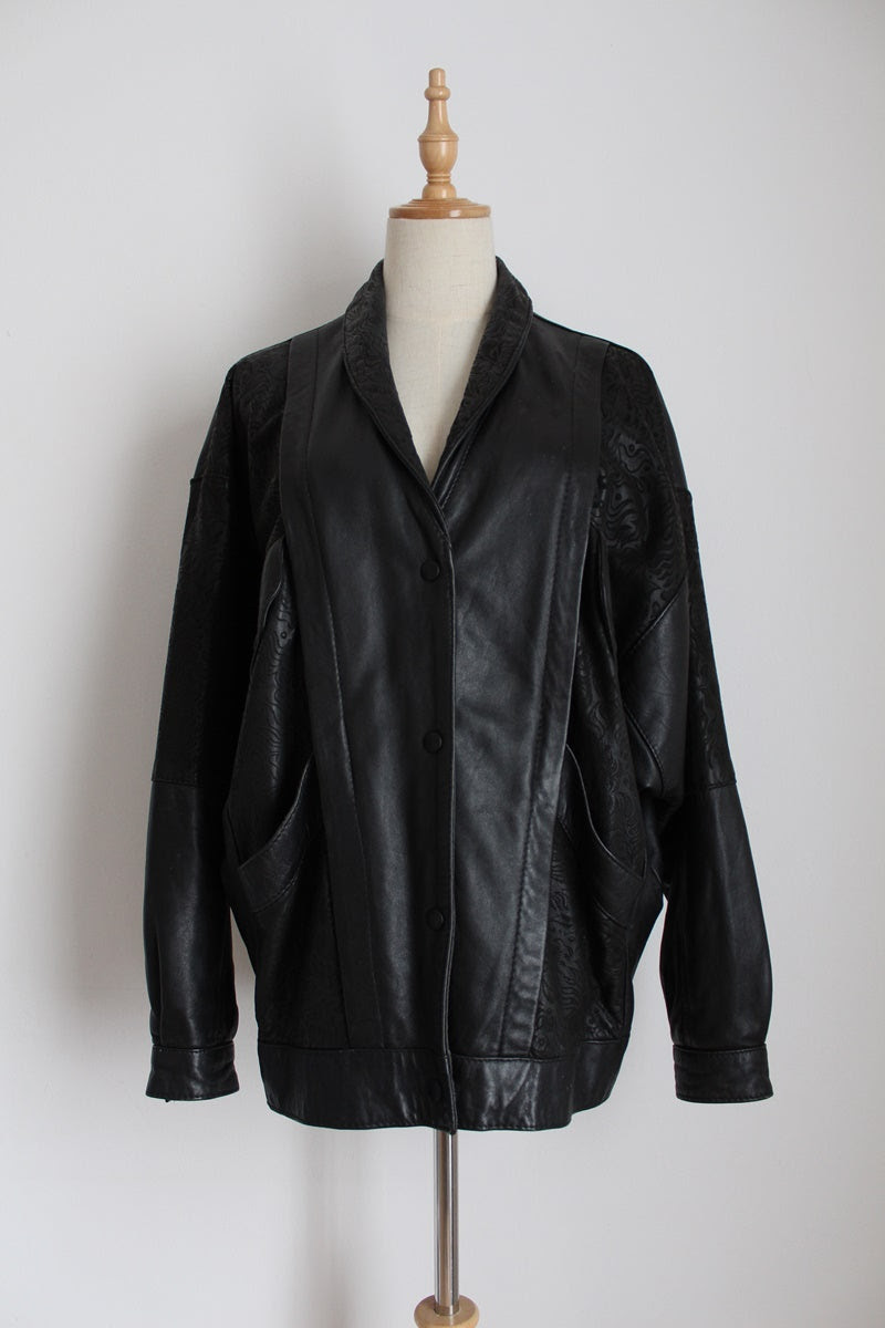 VINTAGE GENUINE LEATHER BLACK PRINTED JACKET - SIZE 12