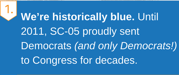 We're historically blue. Until 2011, SC-05 proudly sent Democrats (and only Democrats!) to Congress for decades.