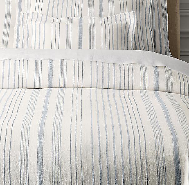Italian Jacquard Stripe Linen Duvet Cover