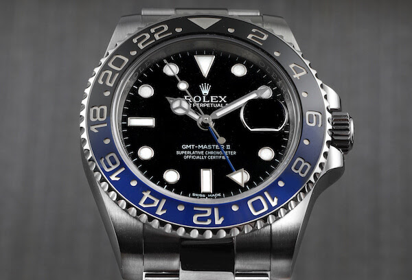 The Rolex GMT Master II Batman ref 116710 with an Oyster bracelet