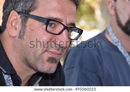 Marseille, France - October 06, 2016 : Belgian cartoonist Philippe Decressac at the 5th edition of the International festival of press and political cartoons at l'Estaque.