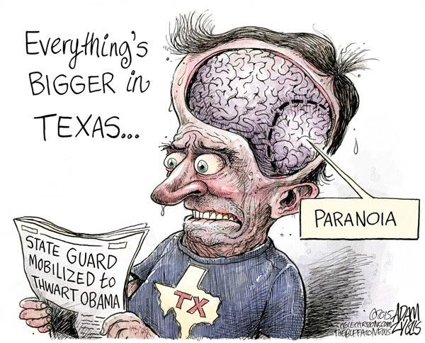 Texas Paranoia © Adam Zyglis,The Buffalo News,texas, paranoia, state, guard, governor, obama, military, conspiracy, tea party, militia