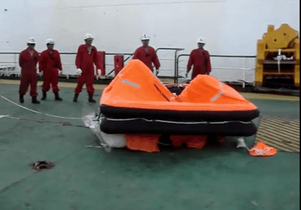 Launching liferaft on deck