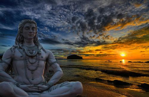 Shiva God statue in Rishikesh_ India at sunset
