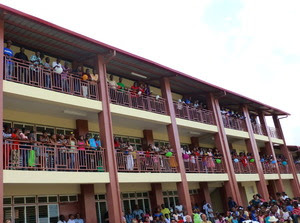 new school lining hallways