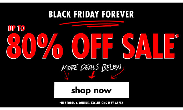 80% off sale continues